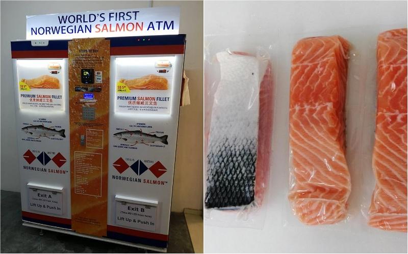 在新加坡第一台售卖冷冻挪威鲑鱼片自动售货机